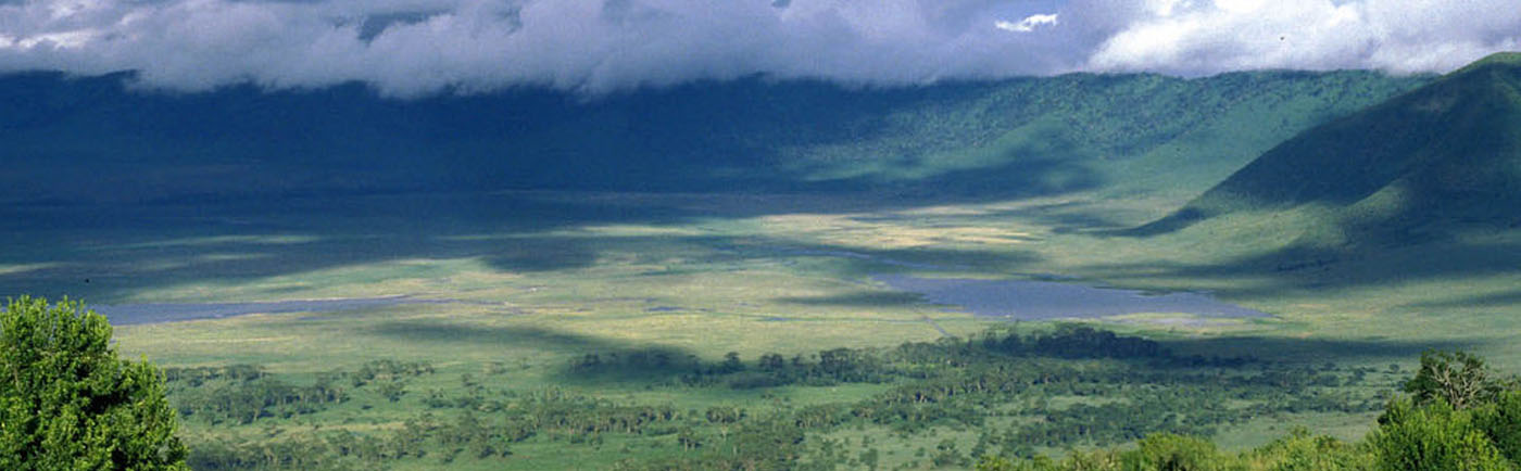 Ngorongoro crater aerial view