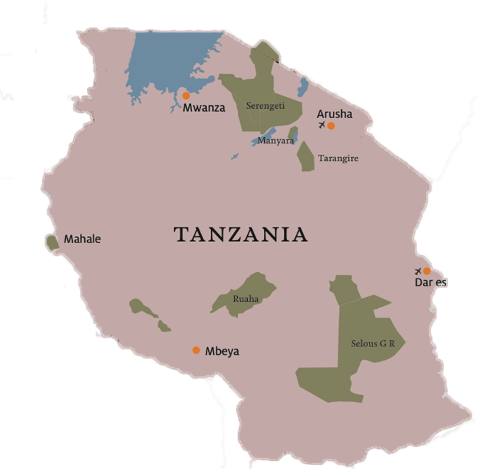 Tanzania On Africa Map.Tanzania Map Private Safaris East Africa
